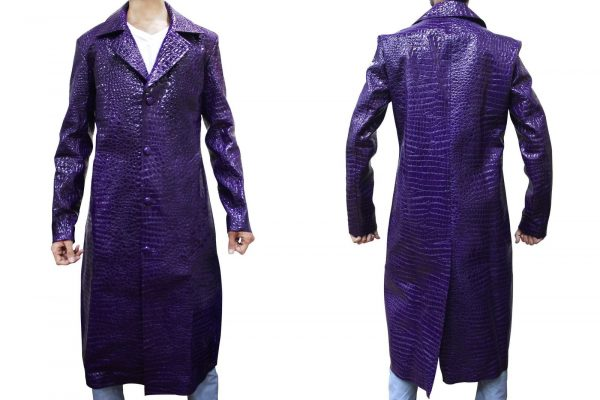 Suicide Squad Joker Crocodile Purple Trench Coat