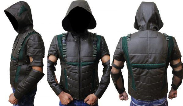 Arrow Season 4 Leather Hooded Vest