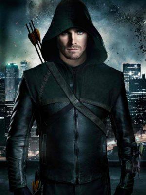 Green Arrow Stephen Amell Leather Jacket Hoodie-0
