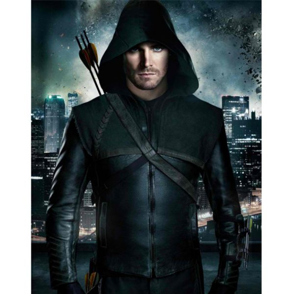 Green Arrow Stephen Amell Leather Jacket Hoodie-0