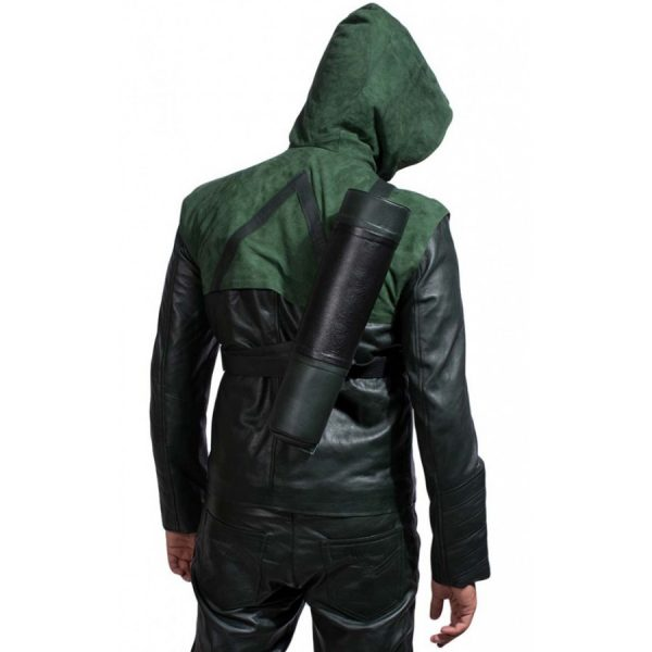 Green Arrow Stephen Amell Leather Jacket Hoodie-4100