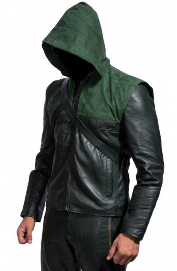 Green Arrow Stephen Amell Leather Jacket Hoodie-4101