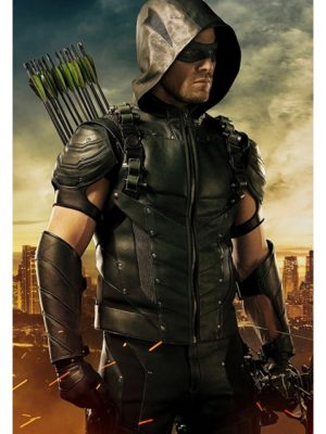 Stephen Amell Green Arrow Season 4 Hooded Vest-0