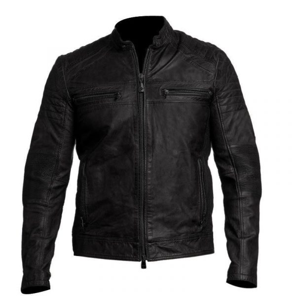 Mens Biker Vintage Distressed Cafe Racer Jacket-0