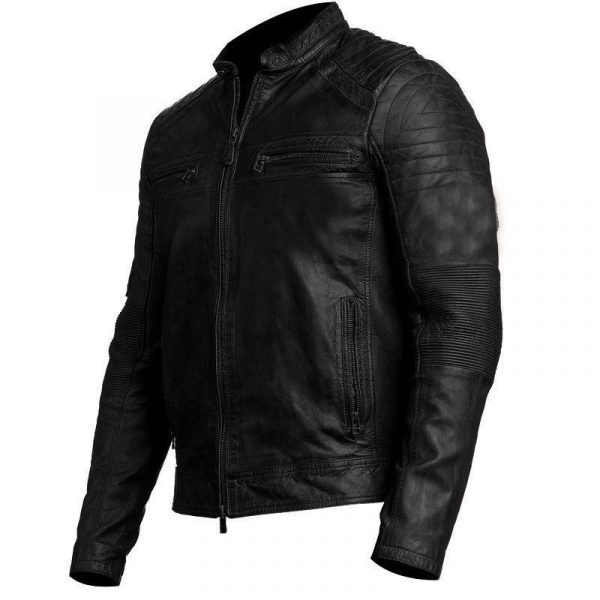 Mens Cafe Racer Distressed Leather Jacket