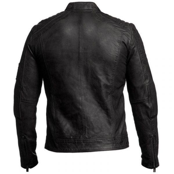 Mens Biker Vintage Distressed Cafe Racer Jacket-3441