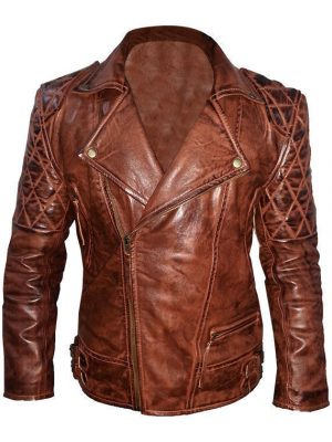 Diamond Classic Men's Motor Biker Vintage Brown Jacket-0