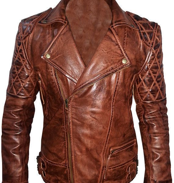 Diamond Classic Men's Motor Biker Vintage Brown Jacket-0