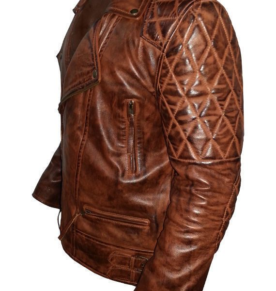 Diamond Classic Men's Motor Biker Vintage Brown Jacket-3461