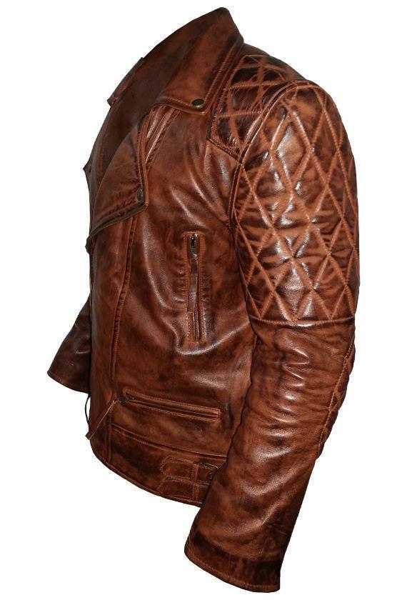 Diamond Classic Men's Motor Biker Vintage Brown Jacket-3461
