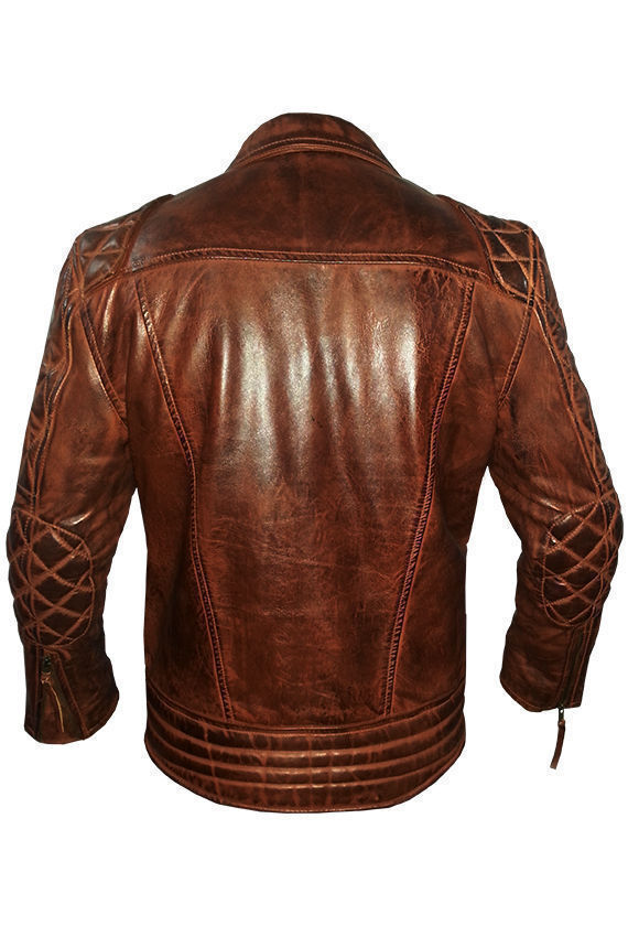 Diamond Classic Men's Motor Biker Vintage Brown Jacket-3462