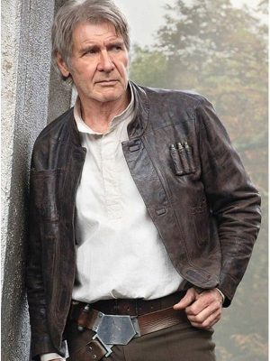Star Wars The Force Awakens Han Solo Brown Leather Jacket-0