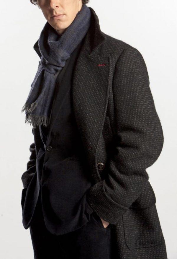 Sherlock Holmes Black Wool Coat