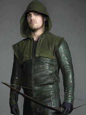 Green Arrow Stephen Amell Leather Jacket Hoodie-3469