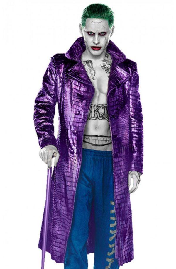 Suicide Squad Jared Leto Joker Leather Jacket Crocodile Texture Coat-0