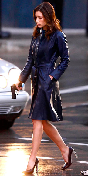 A Team Jessica Biel Leather Coat