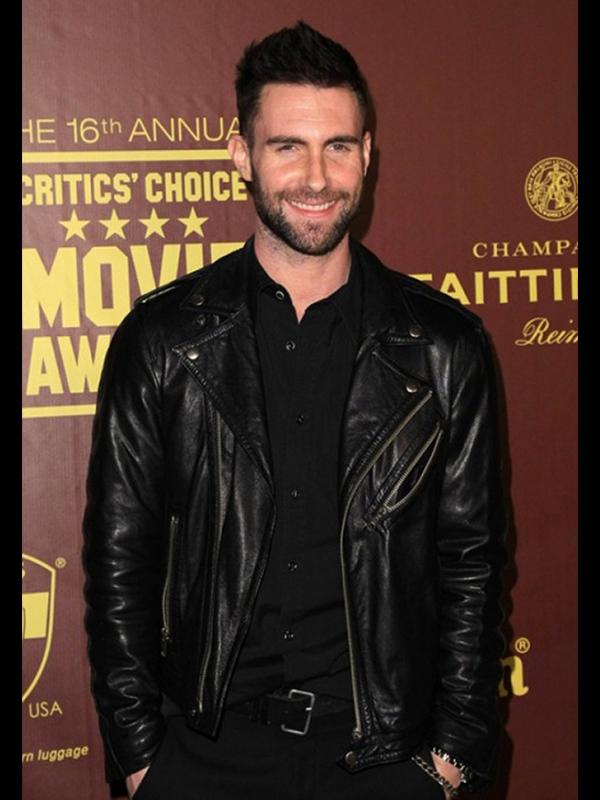 Adam Levine Black Leather Biker Jacket-0