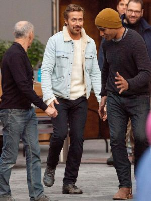 Ryan Gosling Denim Fur Jacket