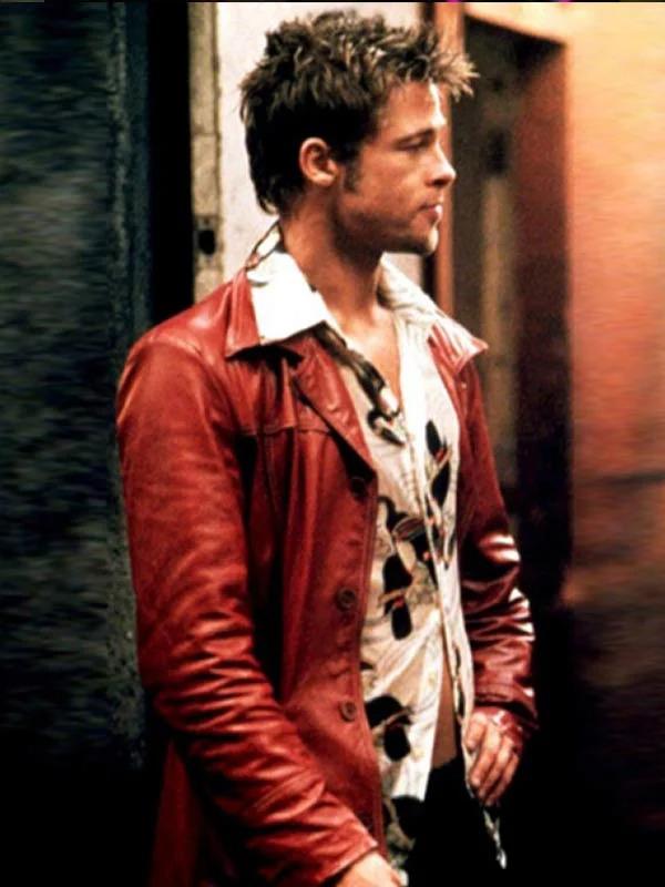 Fight Club Brad Pitt Red Biker Leather Jacket