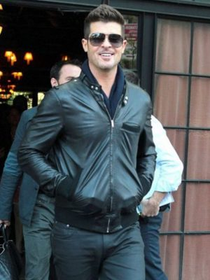 Robin Thicke Bomber Leather Jacket