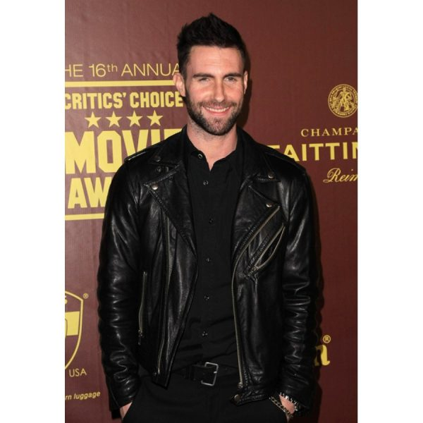 Adam Levine Black Leather Biker Jacket-0