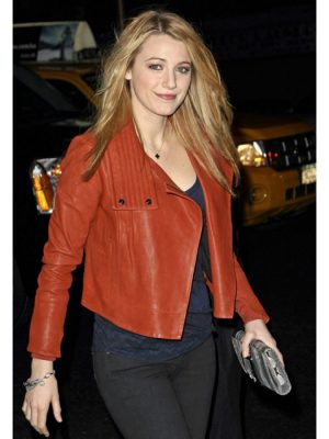 Blake Lively Orange Biker Leather Jacket