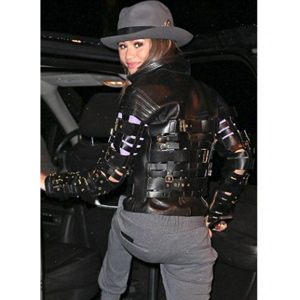 Straps And Buckles Zendaya Coleman Leather Jacket