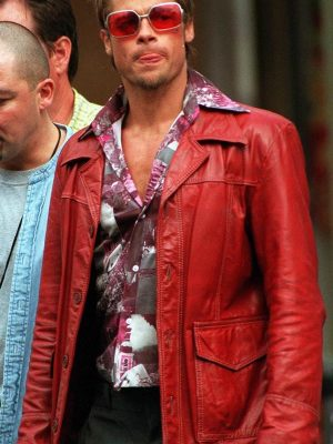 Brad Pitt Fight Club Red Leather Jacket-0