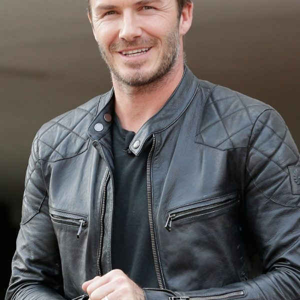 David Beckham Black Quilted Leather Jacket
