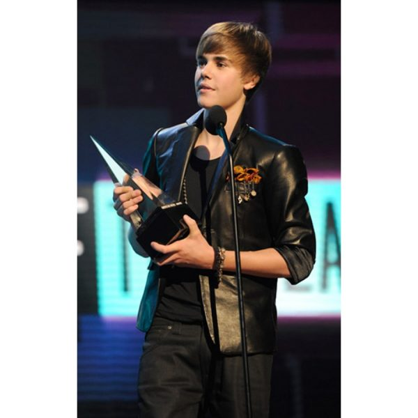 2010 Music Awards Winners Justin Bieber Black Leather Jacket-0