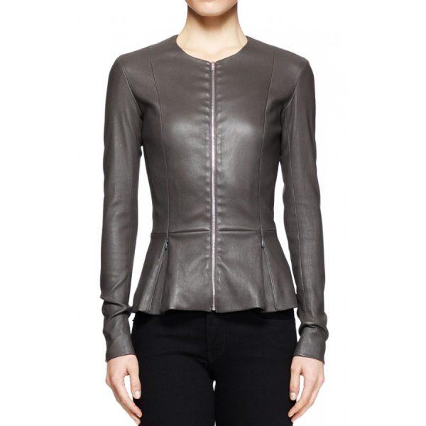 Katherine Heigl Grey Leather Jacket