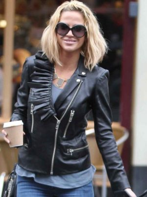Sarah Harding Ladies Black Leather Biker Jacket-0