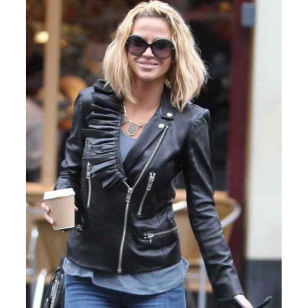 Sarah Harding Ladies Black Leather Biker Jacket-0