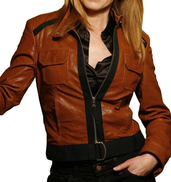 CATHERINE WILLOWS CSI BROWN LEATHER JACKET
