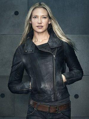 Anna Torv Fringe TV Series Black Leather Jacket-0