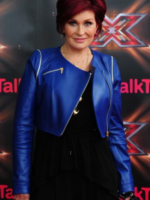 X Factor Sharon Osbourne Blue Leather Jacket-0
