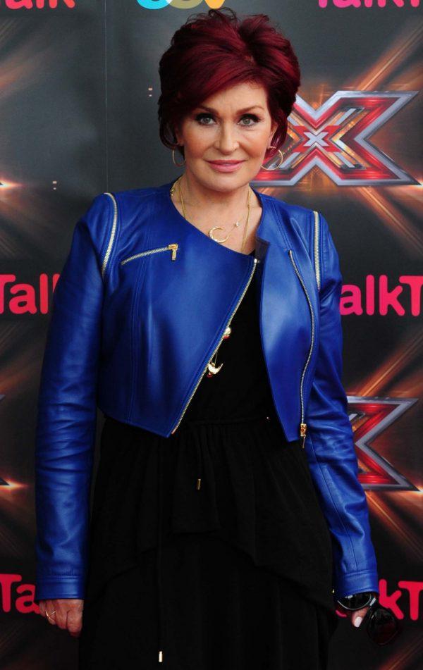 X Factor Sharon Osbourne Blue Leather Jacket-0
