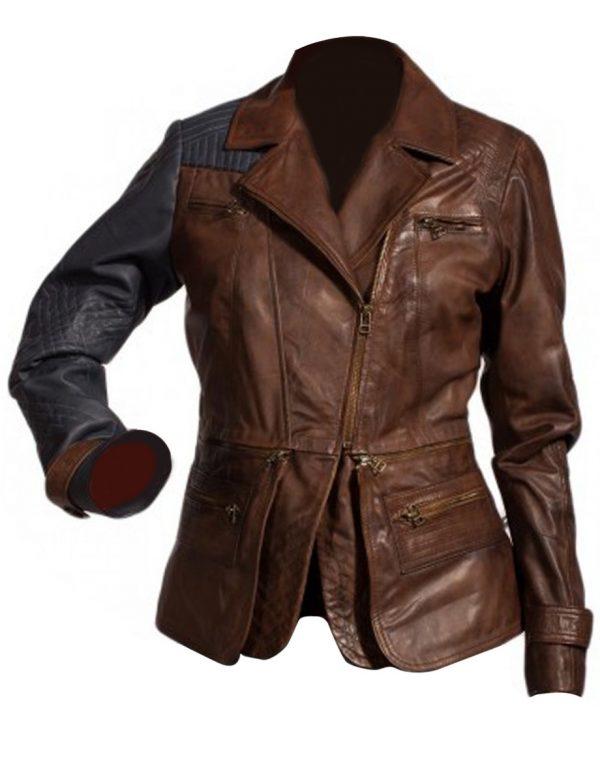 Brown Amanda Rosewater Leather Jacket