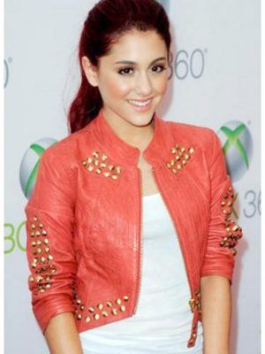 Ariana Grande Red Studded Jacket