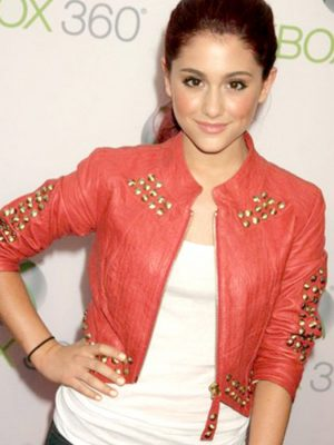 Ariana Grande Red Leather Studded Jacket-0
