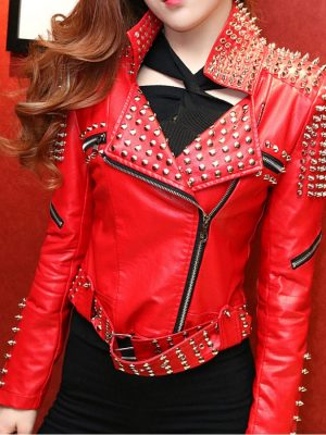 Women's Motorcycle Red Studded Jacket-0