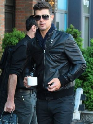 Bomber Style Robin Thicke Black Leather Jacket-0