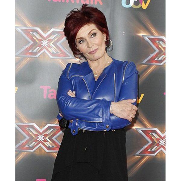 Sharon Osbourne Blue Leather Jacket