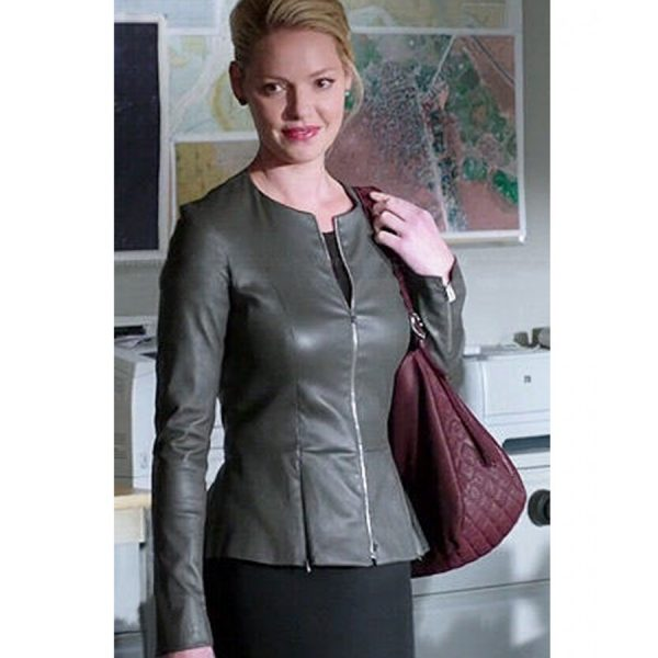State of Affairs Katherine Heigl Leather Peplum Jacket-0