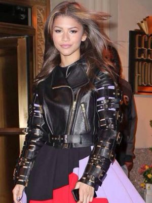 Zendaya Coleman Straps And Buckles Leather Motorcycle Jacket-0