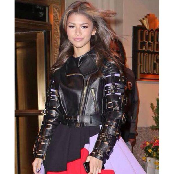 Zendaya Coleman Straps And Buckles Leather Motorcycle Jacket-0