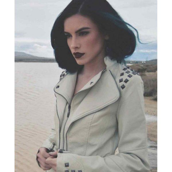 Studded Punk Womens White Faux Leather Moto Jacket-0