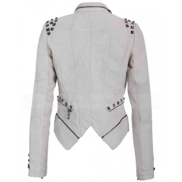 White Biker Leather Jacket