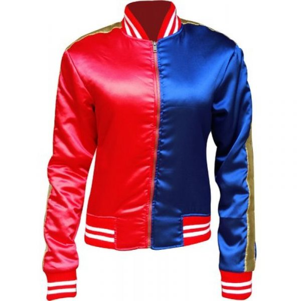 Harley Quinn Red and Blue Bomber Jacket