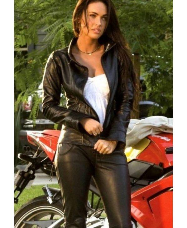 Black Biker Transformers 2 Megan Fox Jacket-0